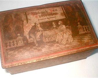Pickwick Inn Tin Box Chocolates Greenwich CT Landmark  Hinged Lid Storage Tin Vintage 40s One Pound Holding