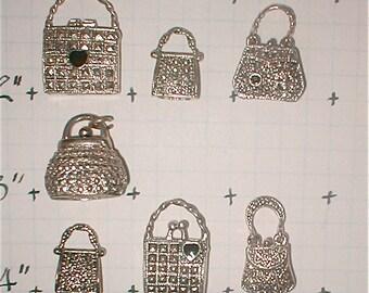 Blingy Pocketbook Charms Silver Tone Metal Purses Handbag Pendants