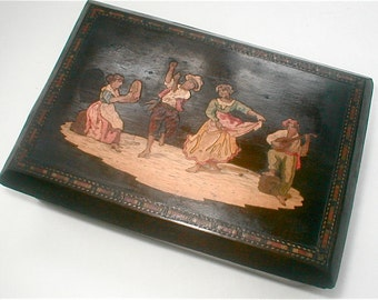 Inlaid Wood Box Italian Marquetry Happy Dancing Gypsies Vintage 1930s Mysterious Sliding Panel