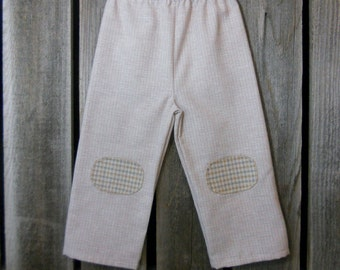 Toddler pants in size 3T (reclaimed plaid with hand stitched knee pads)