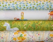 4 Fat Quarters,  Fabric, Heather Ros Fabric, Designer Fabric,  Far Far Away Princess, Unicorns, Lime, Blue, Fabric Sale