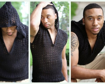 Black Men's Sweater - Hoodie - Warm and Stylish-Pullover -Custom Colors available