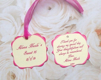 Favor or Treat Tags - Sweet 16 - Wedding Reception - Party - Anniversary - Birthday - Double Sided and Personalized (set of 25)