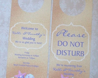 Hotel Door Hangers - LAVENDER PURPLE BEACH - Nautical - Double Sided for Out of Town Wedding Guests - Do Not Disturb