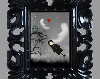 Halloween Art Print -- Wingardium Leviosa -- Goth Girl - Ghosts - Owl - Heart - 8x10