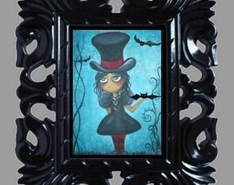 Dark Fantasy Art Print - A Little Batty -- Goth Girl- Bats - Halloween