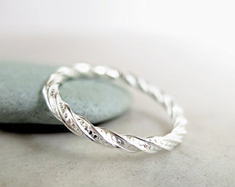 Sterling Silver ring, thin band, twisted, stacking