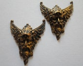 Vintage Oxidized Brass Winged Green Man Findings - Fairy Woodland Findings
