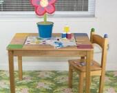 "Splat Mat/Tablecloth ""Moss Bouquet"" - Laminated Cotton BPA  & PVC Free - Choose Your Size below!"