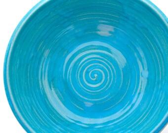 Large Serving Bowl Black and Sky Blue
