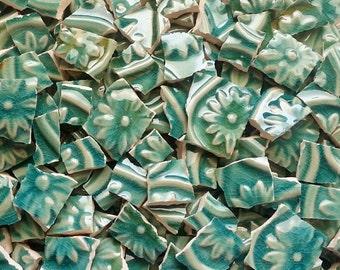 Mosaic Tiles--Green Fleur de Lis Glazed-embossed 60 Tiles