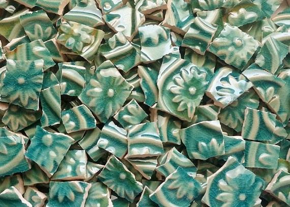 Mosaic Tiles--Green Fleur de Lis Glazed-embossed 70 Tiles