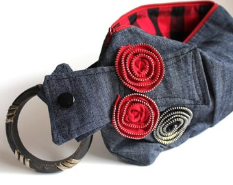 Dark Denim and Red Wristlet Bracelet Purse