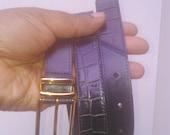 Vintage 1980s Navy Blue Italian Leather Belt Viyella Large Size 14 16