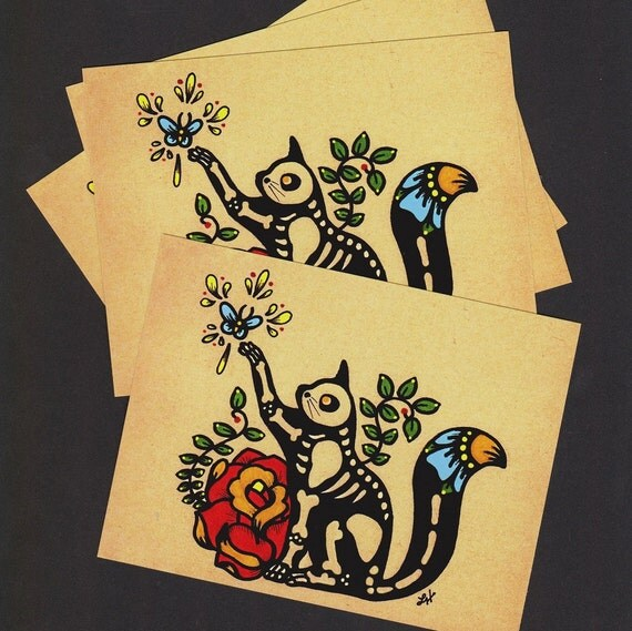 Day of the Dead Postcards CAT Skeleton Pet - Donation to Austin Pets Alive