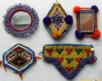 Vintage Tribal Talisman:  Kuchi Beaded Remnant Amulet/Gul I Peron Set #24