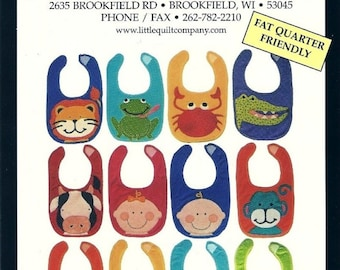Baby Bibs 2 Little Quilt Company Animals Baby Face Cute Fabric Quilt Sewing Pattern