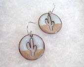 Saw Pierced Copper Enamel Saguaro Earrings