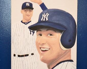 Derek Jeter New York Yankees 12x16 Canvas Painting