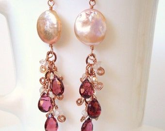 rose gold rhodolite garnet morganite peachy pink coin pearl dangles - Made to order
