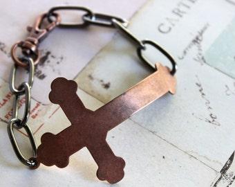 Cross bracelet. copper ox and gunmetal