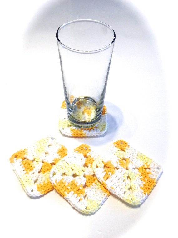 Daisy Ombre Granny Square Crocheted Coasters-Set Of Four