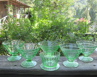 Six Assorted Vintage Dessert Dishes - Footed Green Depression Glass