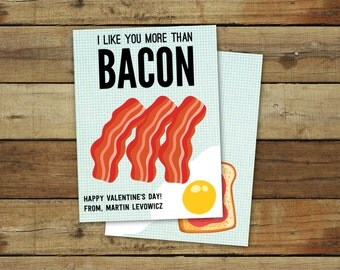 I like you more than bacon, printable valentine download, custom editable pdf, instant download, funny valentine
