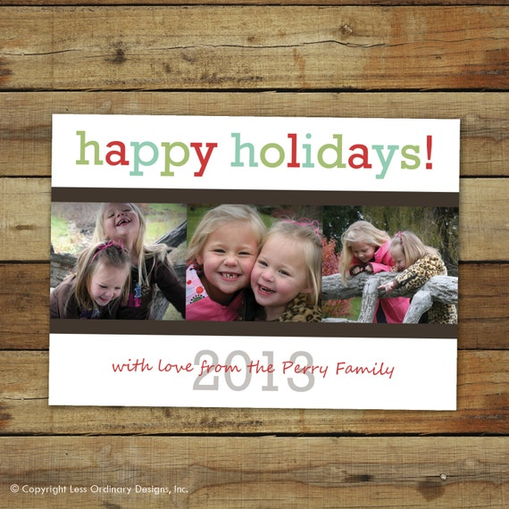 Custom holiday card, Christmas card, cheery colors, printable or printed - 2013