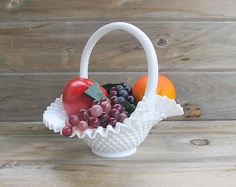 Vintage Milk Glass Basket, Hobnail Basket, Flower Basket, Wedding Centerpiece, Table Basket