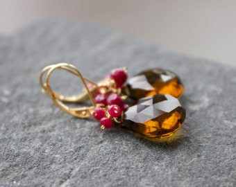 14 K solid gold Gemstone Earrings , Quartz and Ruby earring,  Wire wrapped, Luxurious, Briolette Earrings