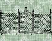 Digital Download Iron Gate with Fence, digi stamp, digital graphic, Vintage City Urban Fence Antique Illustration