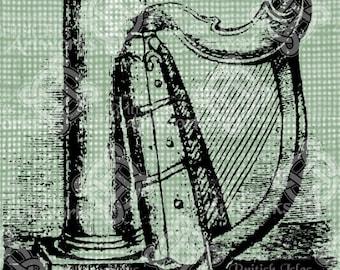 Digital Download Celtic harp and column, Antique Illustration, digi stamp, digis, Ireland Irish Harp, St Patricks Day