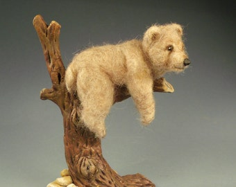 Bear in tree Hand Needle Felted