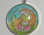 Dancing Blue Rat Nautch Girl,hand painted pendant. OOAK Wearable art for the Rat Lover