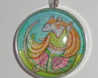 Dancing Blue Rat Nautch Girl,hand painted pendant. OOAK Wearable art for the Rat Lover