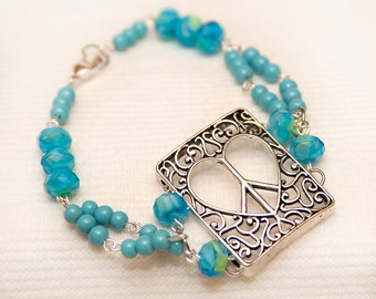 Peace sign bracelet, peace heart charm, heart peace sign, hippie jewelry, boho jewelry, boho bracelet, unity jewelry, world peace jewelry
