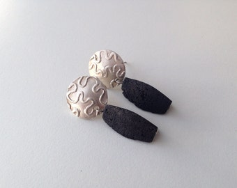VULCAN / Sterling silver earrings with volcanic stones