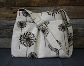 Brown Dandelions on Decorator Fabric / Adjustable Strap Handbag
