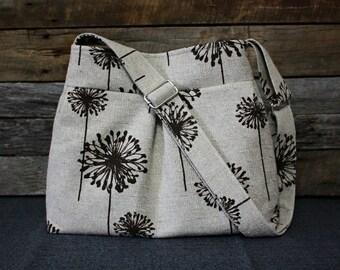 Brown Dandelions on Decorator Fabric / Adjustable Strap Handbag