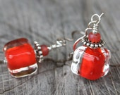 Luscious Dark Orange Cube Lampwork Earrings