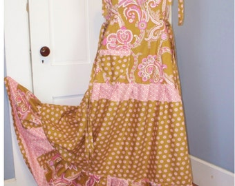 Shoulder Ties Patchwork Summer Maxi Dress Hippie Bohemian