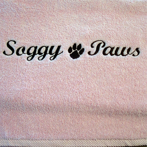 DIRTY PAWS - Pink Hand Towel - Includes Custom Embroidery