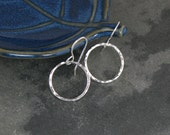 Eternity Earrings, Extra Small Sterling Silver Hoops, Little Round Hoops, Hammered texture, Dangle Hoops