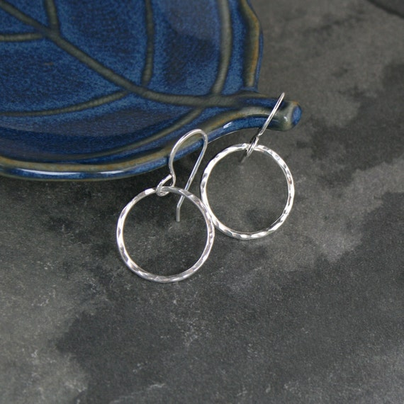 Eternity Earrings, Extra Small Sterling Silver Hoops, Little Round Hoops, Hammered texture, Dangle Hoops,Round Minimalist, French Ear Wire
