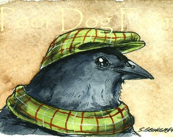 Dapper Catbird- Original ACEO Painting