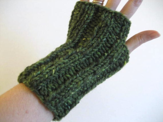 Hobo Gloves Knitting Pattern : Hand Knit Fingerless Gloves Green 100% Wool Hobo by ProjectGlove