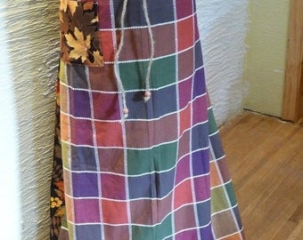 Fall Skirt, Long Skirt, Autumn Colors, Handmade Skirt, Unique Clothing, Multi Size Skirt, Drawstring Waist, Wooden Beads,Leaves,Fall Colors