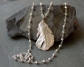 Silver Beaded Long Necklace, Long Silver Pendant Necklace, Silver PYRITE, PYRITE Jewelry, Wrap Around Necklace, Boho Chic, Feather Pendant