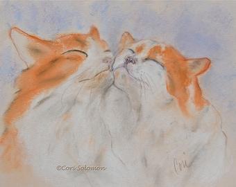 Two Cats White and Orange Cat Art Original Pastel Drawing  By Cori Solomon